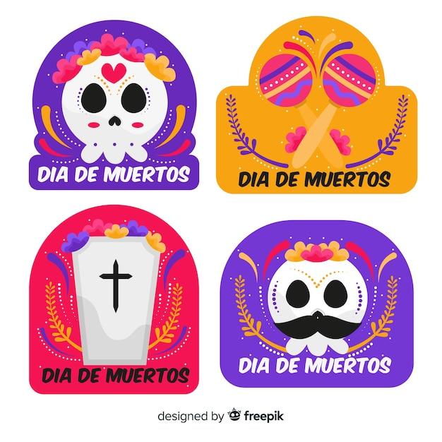 Collezione di badge design piatto día de muertos Vettore gratuito