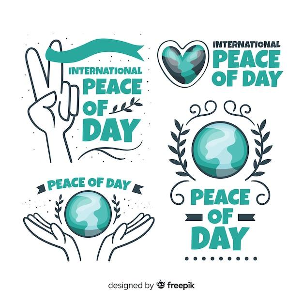 Collezione di badge design piatto giorno della pace Vettore gratuito