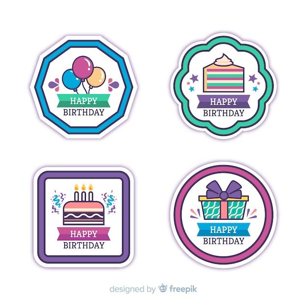 Collezione di badge di compleanno Vettore gratuito