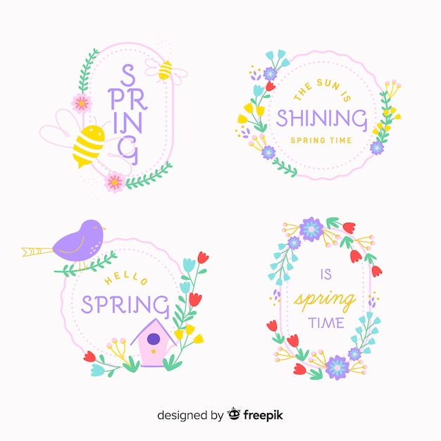 Collezione di badge di primavera Vettore gratuito