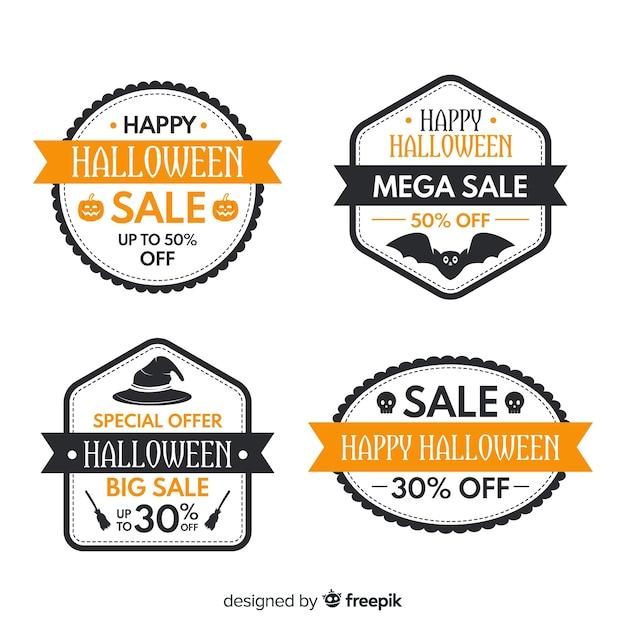 Collezione di badge di vendita di halloween su design piatto Vettore gratuito