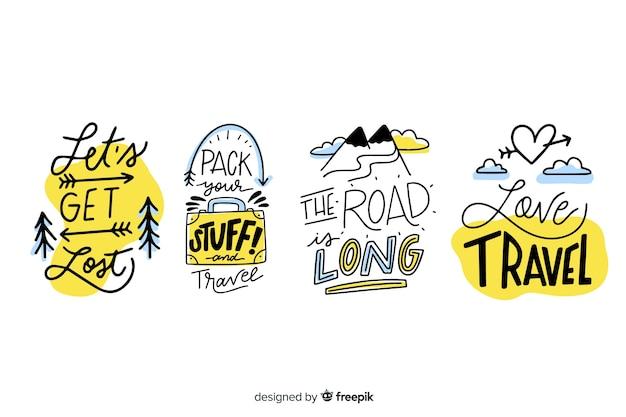 Collezione di badge di viaggio lettering Vettore gratuito