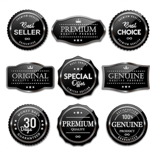 Collezione di badge ed etichette in vendita nero lucido Vettore Premium