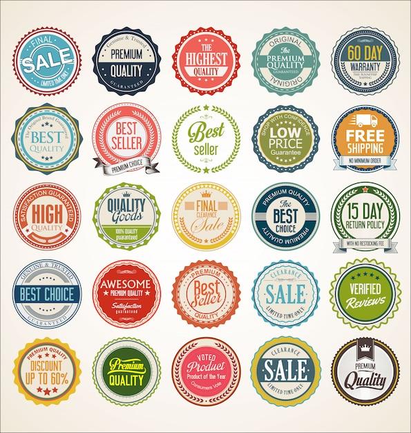 Collezione di badge ed etichette vintage retrò Vettore Premium