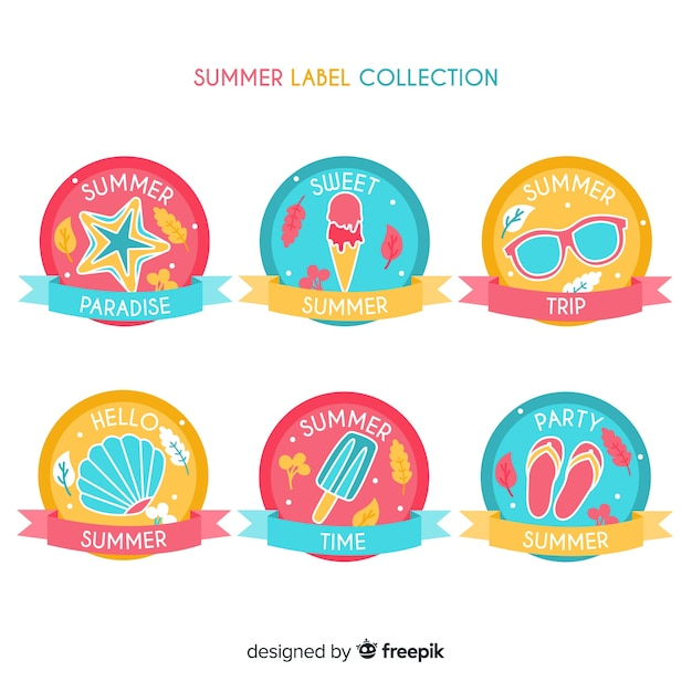 Collezione di badge estivi Vettore gratuito