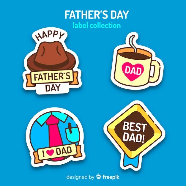 Collezione di badge felice festa del papà Vettore gratuito