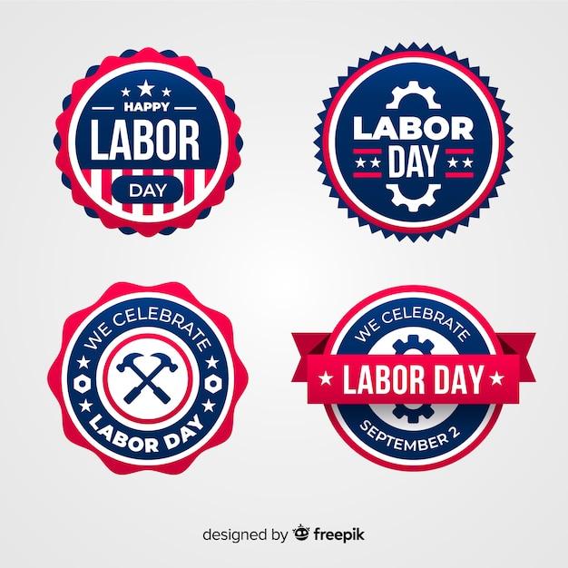 Collezione di badge festa del lavoro piatto Vettore gratuito
