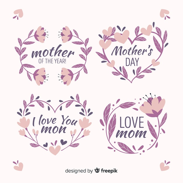 Collezione di badge festa della mamma disegnata a mano Vettore gratuito