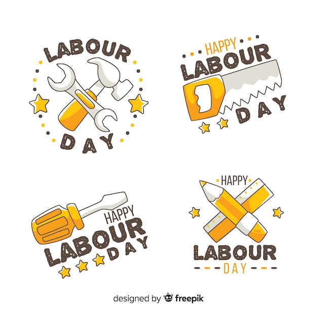 Collezione di badge giornata lavorativa disegnata a mano Vettore gratuito