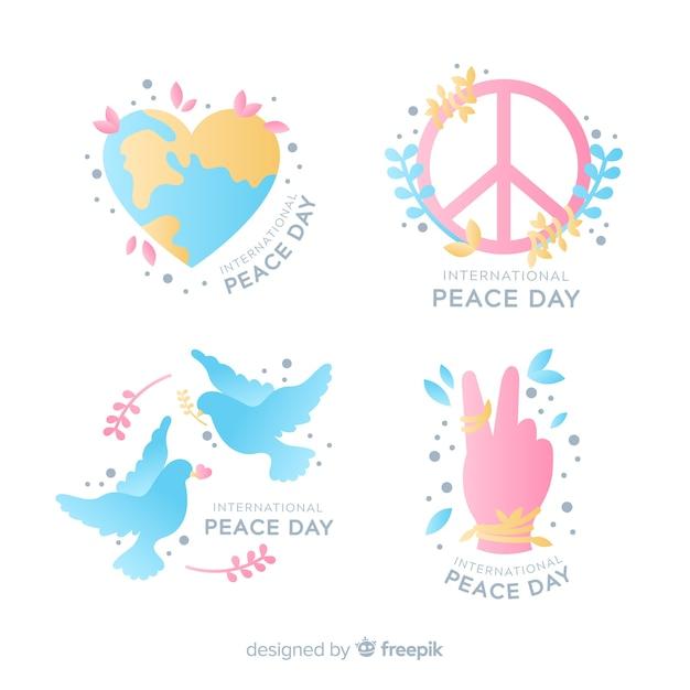 Collezione di badge giorno della pace disegnati a mano Vettore gratuito