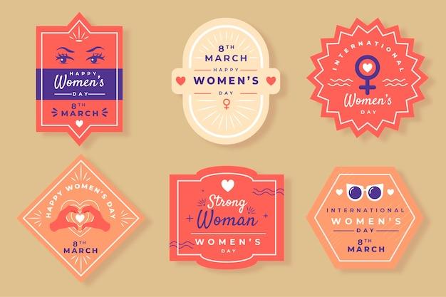 Collezione di badge giorno delle donne disegnate a mano Vettore gratuito