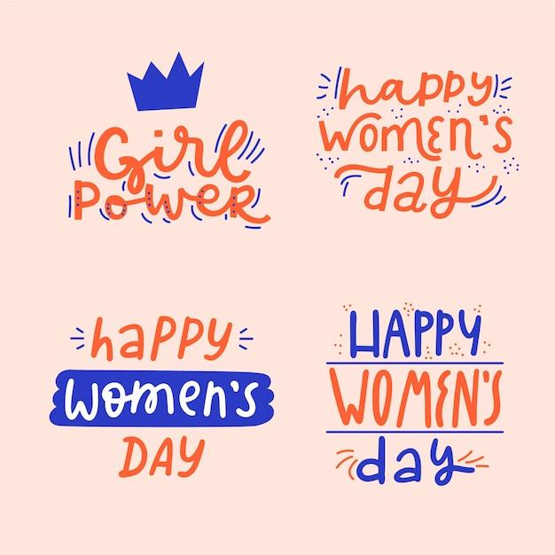 Collezione di badge giorno delle donne scritte Vettore gratuito