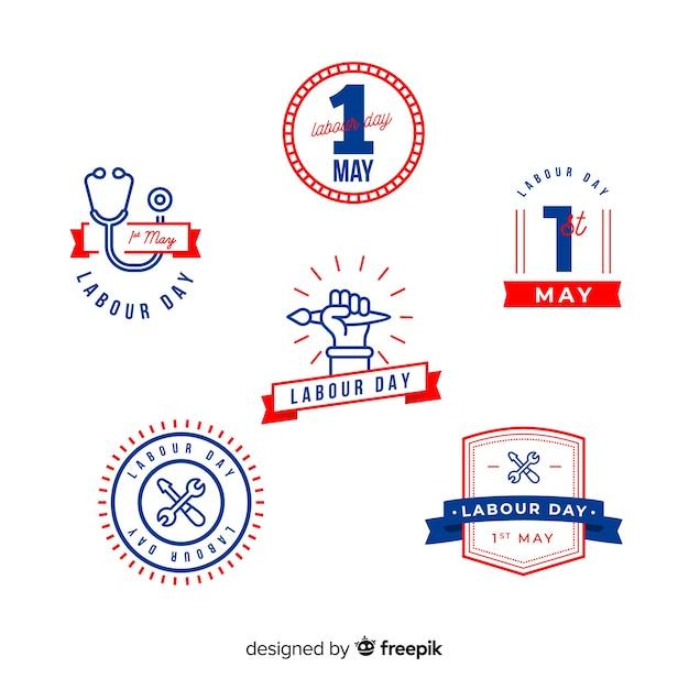 Collezione di badge giorno di lavoro piatto Vettore gratuito