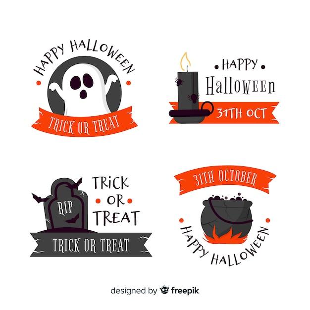 Collezione di badge halloween design piatto Vettore gratuito