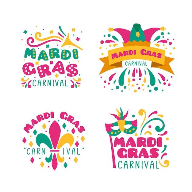 Collezione di badge mardi gras Vettore gratuito