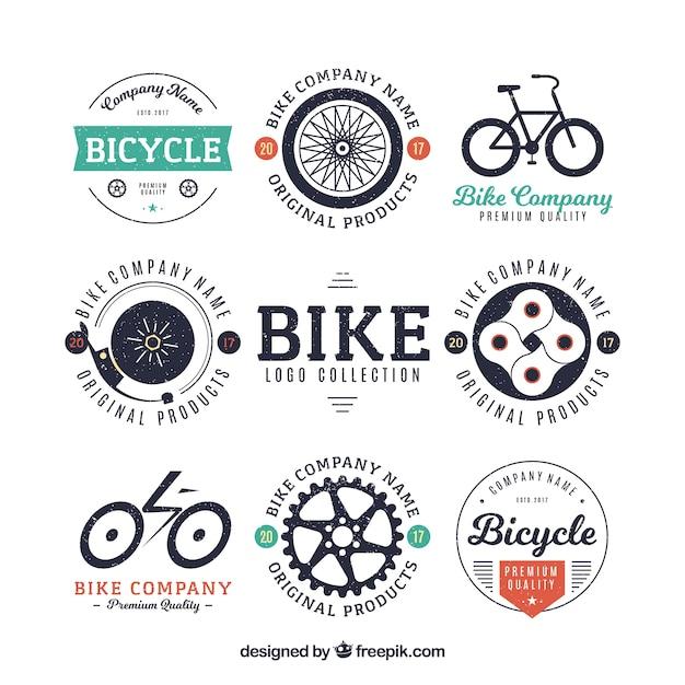 Collezione di badge per bicicletta Vettore gratuito