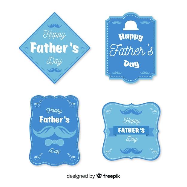 Collezione di badge per la festa del papà piatto Vettore gratuito