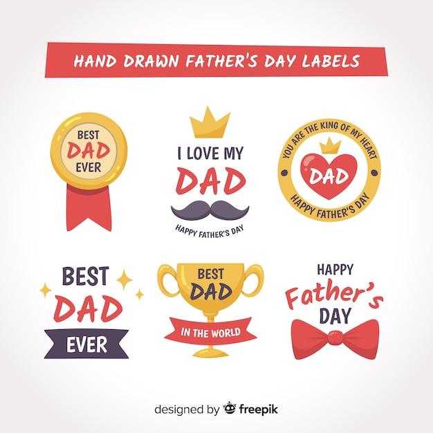 Collezione di badge per la festa del papà Vettore gratuito