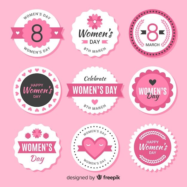 Collezione di badge per la festa della donna Vettore gratuito