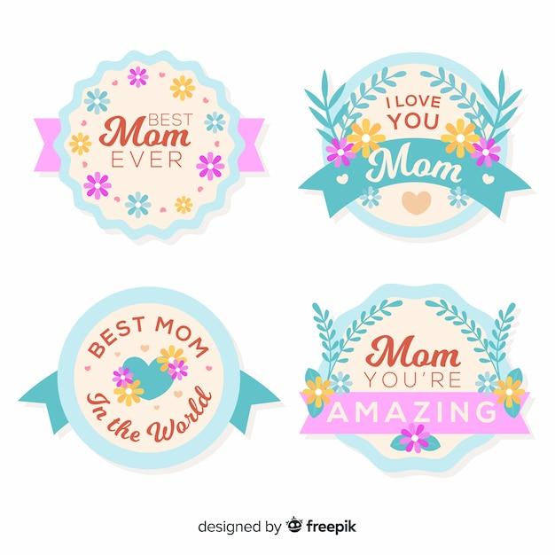 Collezione di badge per la festa della mamma color pastello Vettore gratuito