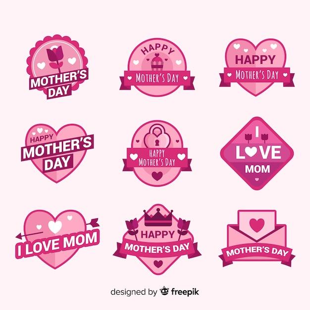 Collezione di badge per la festa della mamma Vettore gratuito