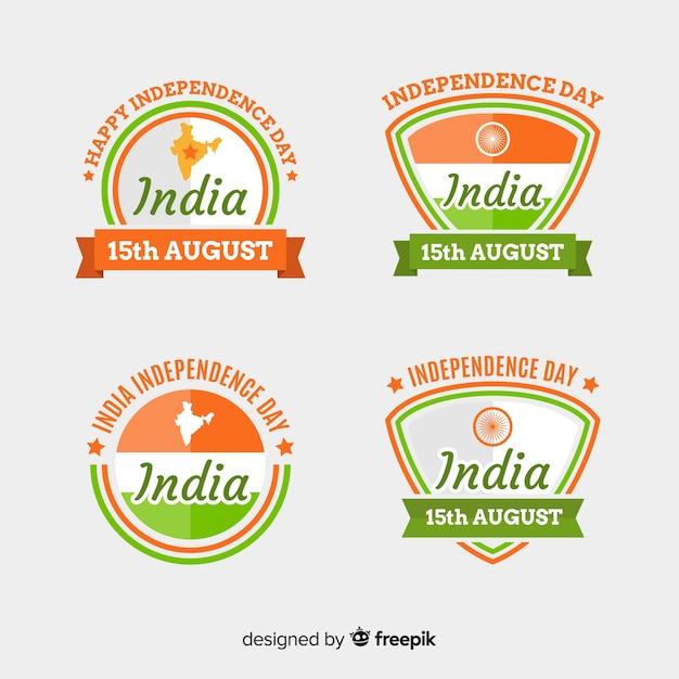Collezione di badge piatto giorno dell'indipendenza india Vettore gratuito
