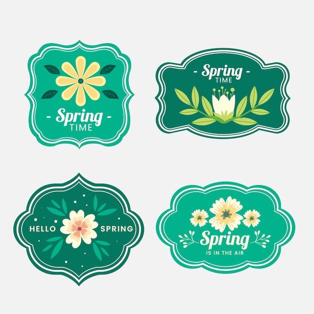 Collezione di badge primavera in design piatto Vettore gratuito