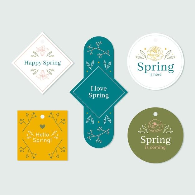 Collezione di badge primavera in varie forme Vettore gratuito