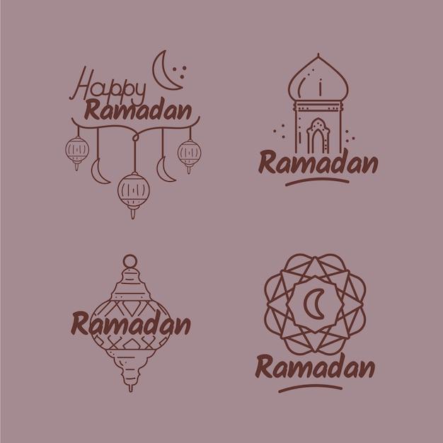 Collezione di badge ramadan Vettore gratuito