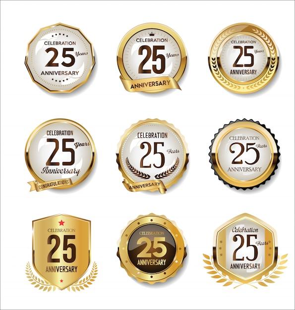 Collezione di badge retrò dorato anniversario Vettore Premium