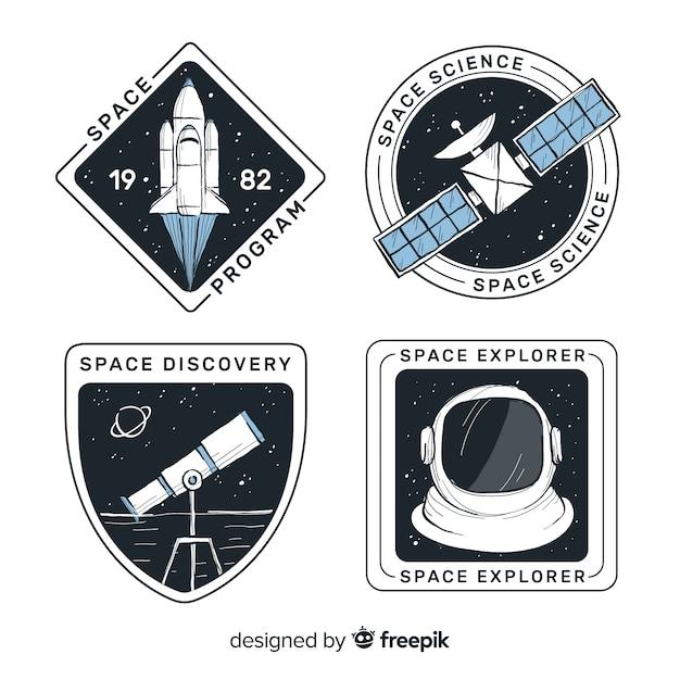 Collezione di badge spazio disegnato a mano incantevole Vettore gratuito