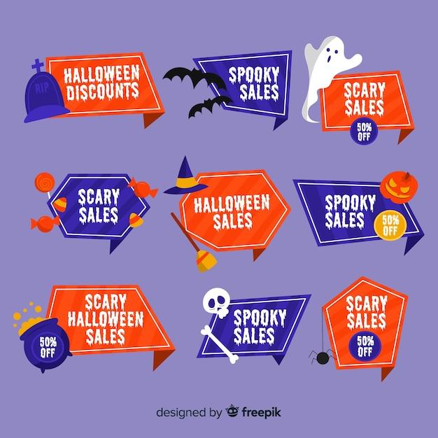 Collezione di badge vendita di halloween piatto Vettore gratuito