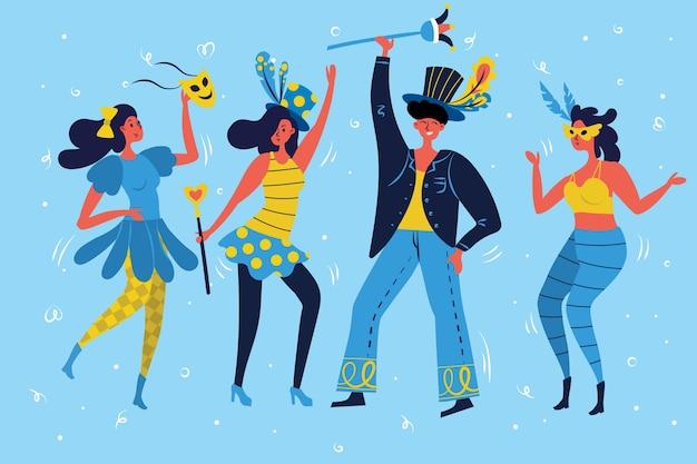 Collezione di ballerini di carnevale Vettore gratuito