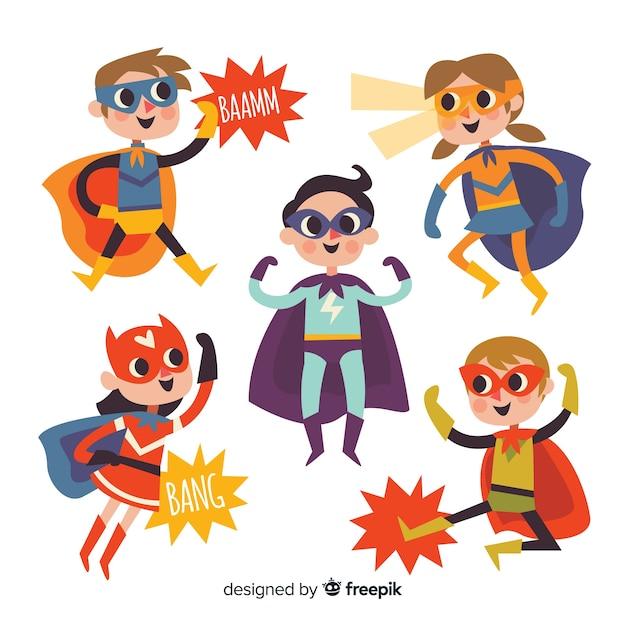 Collezione di bambini di supereroi Vettore gratuito