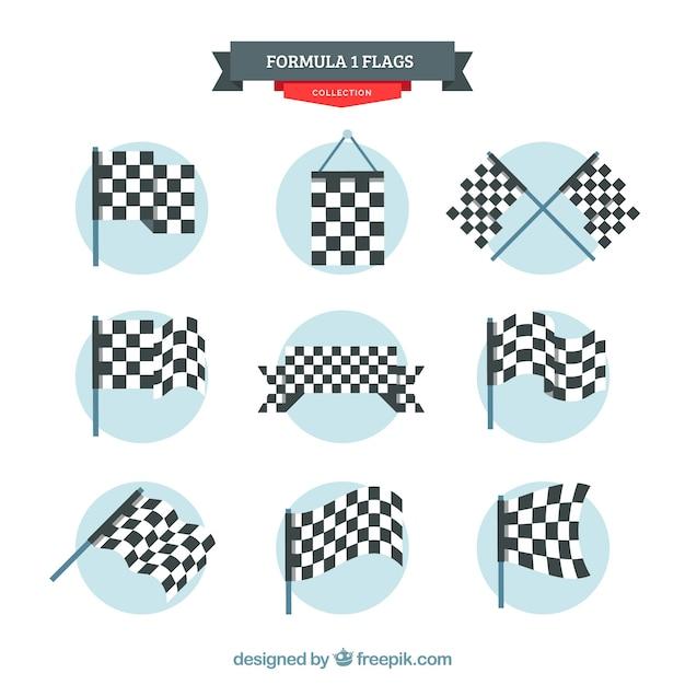 Collezione di bandiere a scacchi con design piatto Vettore gratuito