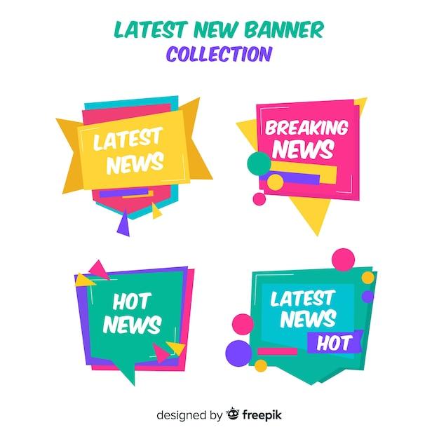 Collezione di bandiere colorate ultime notizie Vettore gratuito
