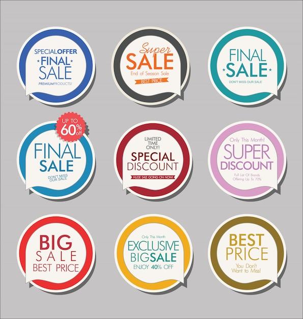 Collezione di bandiere ed etichette di vendita moderna Vettore Premium