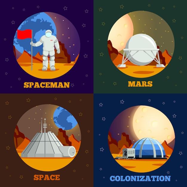 Collezione di banner di colonizzazione del pianeta Vettore gratuito