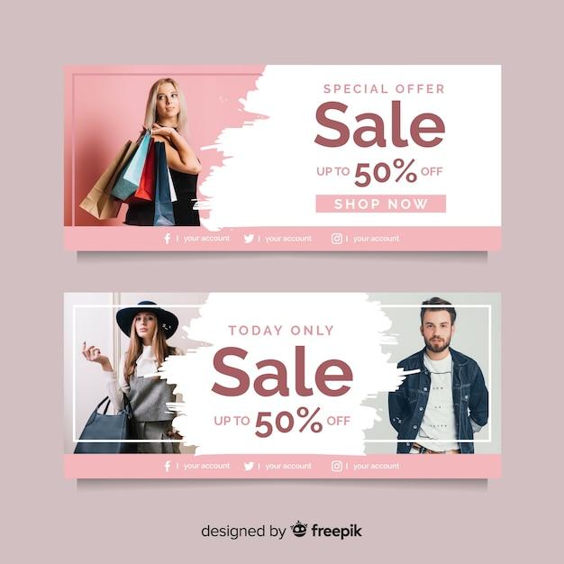 Collezione di banner di moda in vendita Vettore gratuito