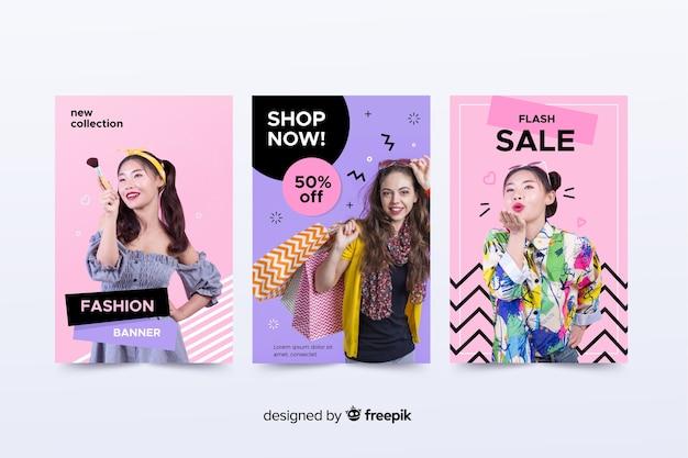 Collezione di banner di moda vendita con foto Vettore gratuito