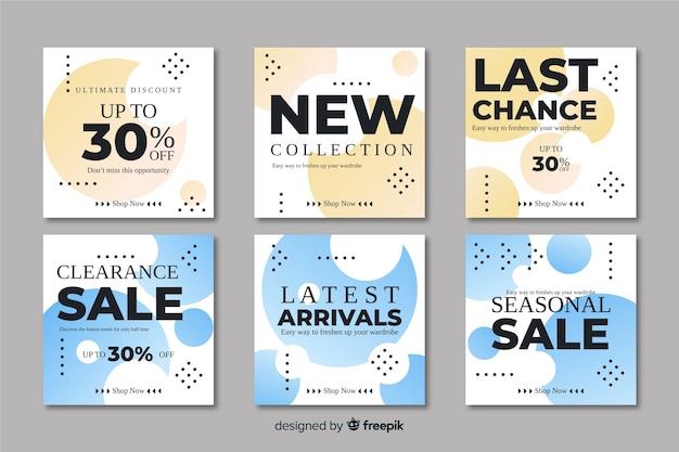 Collezione di banner di promozione vendita astratta Vettore gratuito