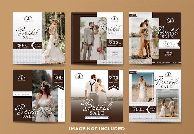 Collezione di banner di social media di vendita di nozze o da sposa Vettore Premium