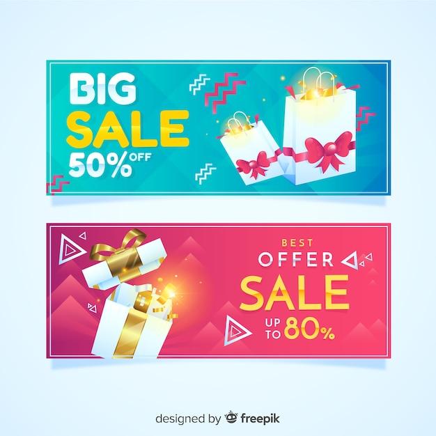 Collezione di banner di vendita geometrica realistico Vettore gratuito