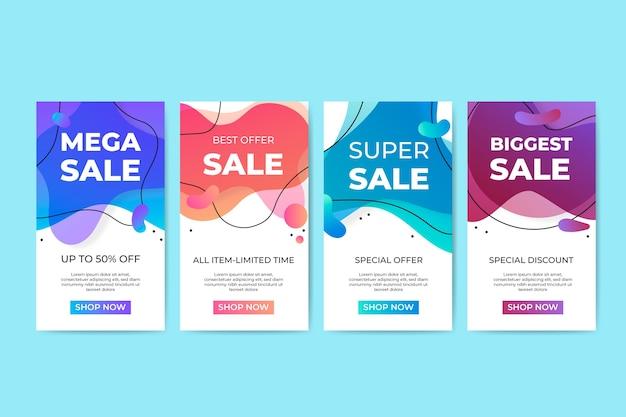 Collezione di banner di vendita liquido colorato Vettore gratuito
