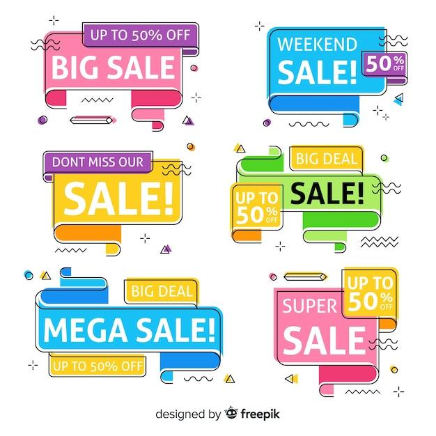 Collezione di banner di vendita memphis Vettore gratuito