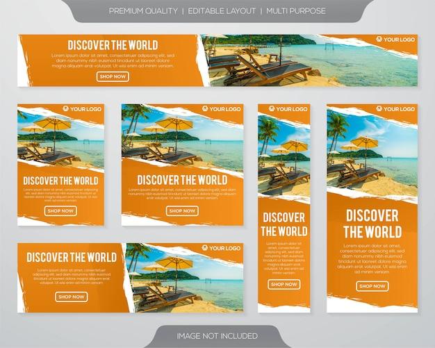 Collezione di banner di viaggio Vettore Premium