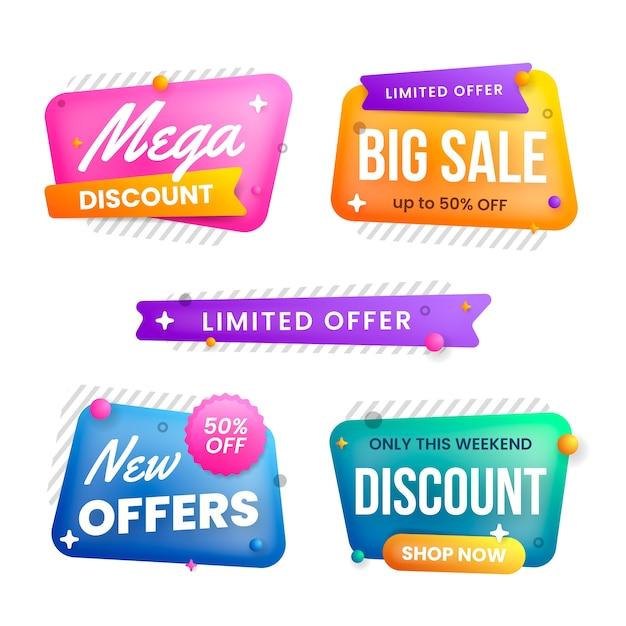 Collezione di banner in vendita in varie forme di bolle Vettore gratuito