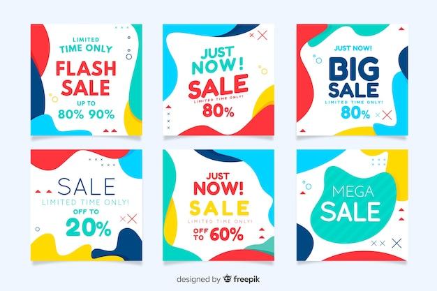 Collezione di banner in vendita per social media Vettore gratuito