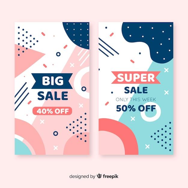 Collezione di banner in vendita stile memphis Vettore gratuito