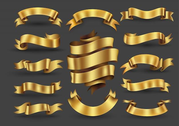 Collezione di banner nastro oro Vettore Premium